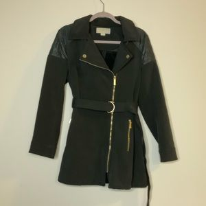 Michael Kors Quilted Trench Coat With Belt